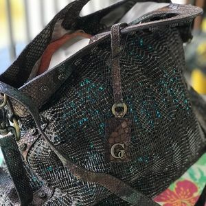Guess Collection brown woven leather handbag